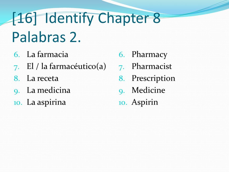 [16] Identify Chapter 8 Palabras 2.